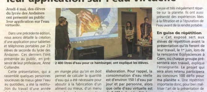 Les lycéens des Andaines ont présenté leur application sur l'eau virtuelle !