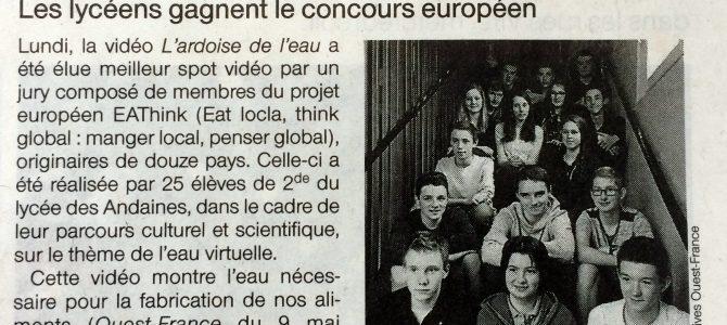 Article Ouest France – les lycéens gagnent le concours européen !