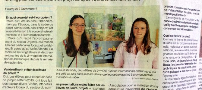 Article Ouest France du 22 mai – Alimentation durable au Lycée Allende