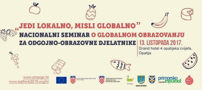 Odabrani sudionici nacionalnog seminara o globalnom obrazovanju Jedi lokalno, misli globalno!
